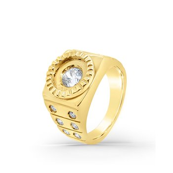 14K Yellow Gold Retro Diamond Mens Square Ring
