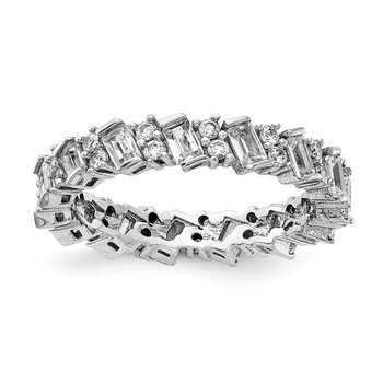 Sterling Silver Fancy CZ Eternity Band