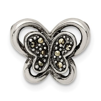 Sterling Silver Antiqued Marcasite Butterfly Chain Slide