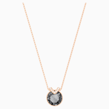 Bella V Pendant, Black, Rose-gold tone plated