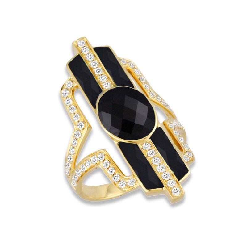 Doves Art Deco Style Gatsby Onyx & Diamond Ring