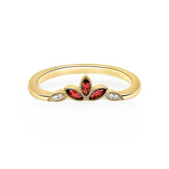Ruby Leaf Diamond Wedding Band