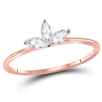 10kt Rose Gold Womens Marquise Diamond Three-stone Stackable Band Ring 1/4 Cttw