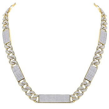10kt Yellow Gold Mens Round Diamond Cuban Link Rectangle Ice Necklace 24-1/2 Cttw