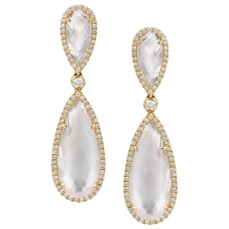 MAZZARESE Couture White Orchid Mother of Pearl Earrings