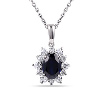 14K Oval Sapphire Pendant  1.50CT. Surrounded by 12 Diamonds  0.57CT T.W