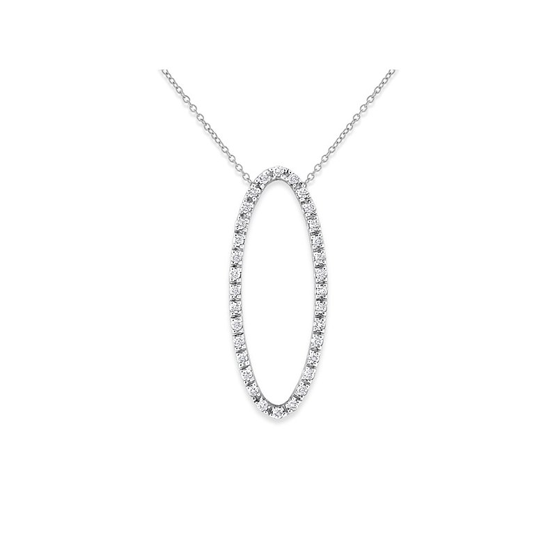 KC Designs Diamond Oval Necklace in 14k White Gold with 32 Diamonds weighing .34ct tw