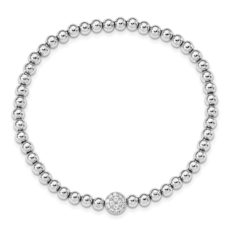 Quality Gold Sterling Silver Rhodium-plated Polished Beaded CZ Stretch Bracelet