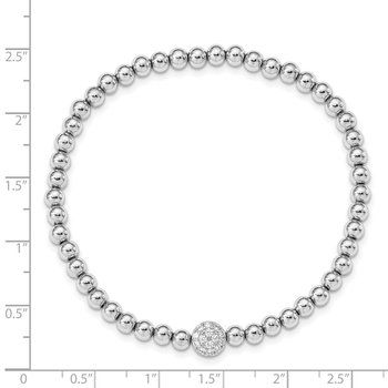 Sterling Silver Rhodium-plated Polished Beaded CZ Stretch Bracelet