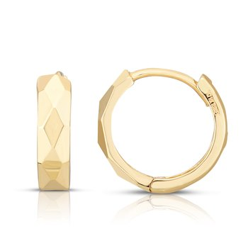 14K Gold Faceted Huggie Earrings