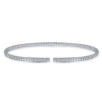 14K White Gold Bujukan Bead Cuff Bracelet with Diamond Pavé Bars
