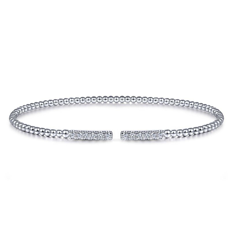 Gabriel Fashion 14K White Gold Bujukan Bead Cuff Bracelet with Diamond Pavé Bars