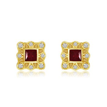 14k Yellow Gold Filigree Princess Ruby and Diamond Earrings