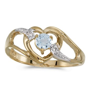 14k Yellow Gold Round Aquamarine And Diamond Heart Ring