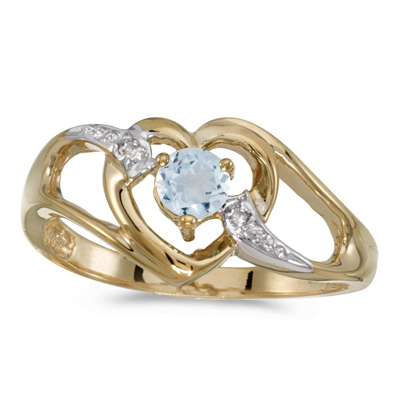 Color Merchants 14k Yellow Gold Round Aquamarine And Diamond Heart Ring
