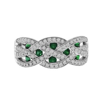 14k White Gold Emerald and Diamond Braided Wide Band