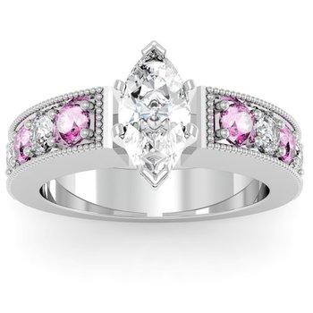 Milgrain Pave Diamond & Pink Sapphire Engagement Ring