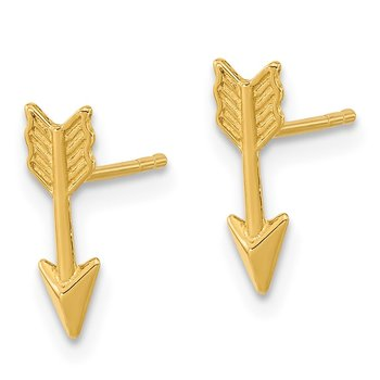 14k Gold Polished Arrow Post Earrings