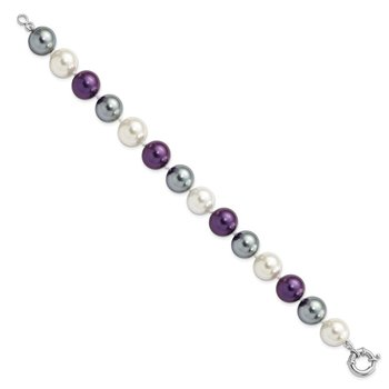 Sterling S Majestik Rh-pl 12-13mm Multi-color Color Imitat Shell Pearl Brac