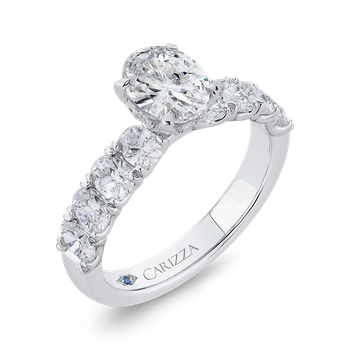 18K White Gold Oval Diamond Engagement Ring (Semi-Mount)