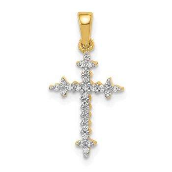 14k and Rhodium 1/10ct. Diamond Fleur de Lis Cross Pendant