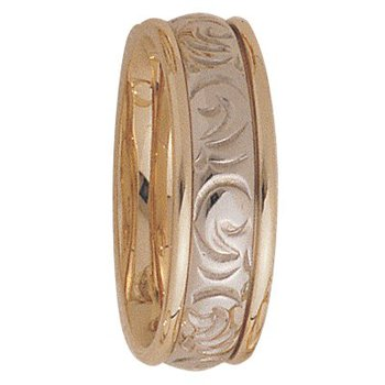 7mm 5148 Mens Two Tone Wedding Band