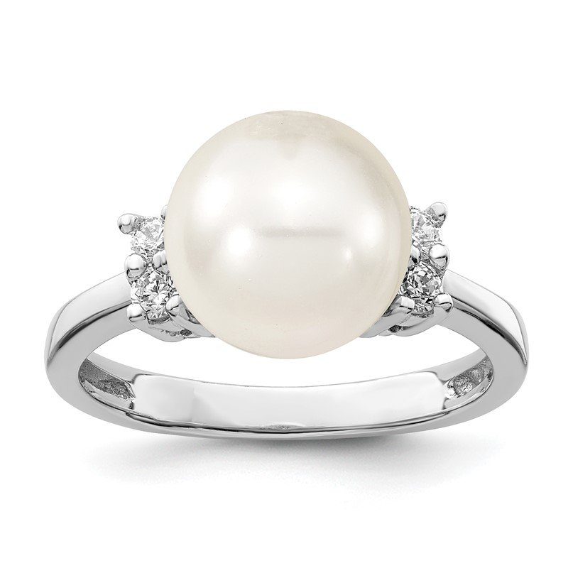 Quality Gold Sterling Silver Majestik Rh-pl 10-11mm Wht Imitation Shell Pearl & CZ Ring