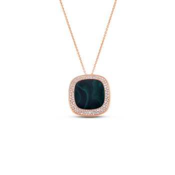 18KT GOLD LARGE PENDANT WITH DIAMONDS AND MALACHITE