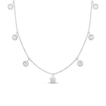 18K SEVEN DIAMOND DROP STATION NECKLACE