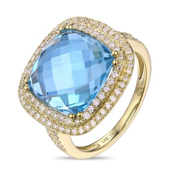 Cushion Blue Topaz Ring with Double Diamond Halo