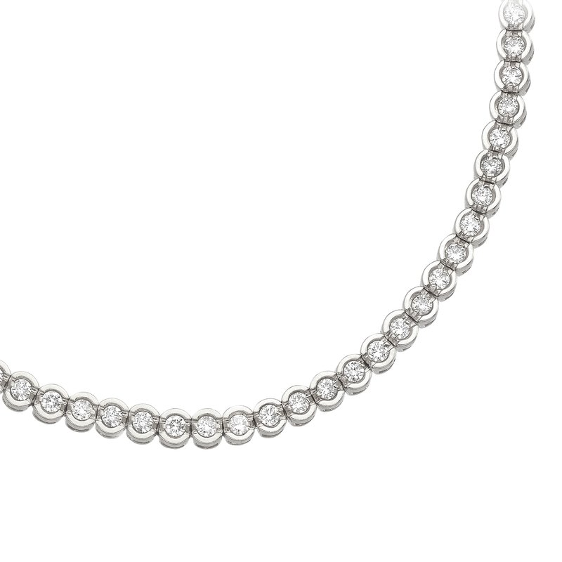 Color Merchants 14K White Gold Round Diamond Circular Style Tennis Bracelet
