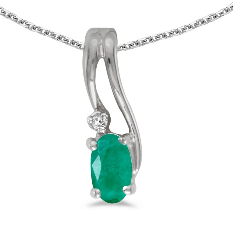 Color Merchants 14k White Gold Oval Emerald And Diamond Wave Pendant