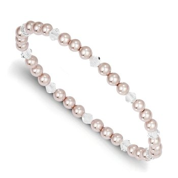 4mm Pink Shell Bead & Swarovski Crystal Child Stretch Bracelet