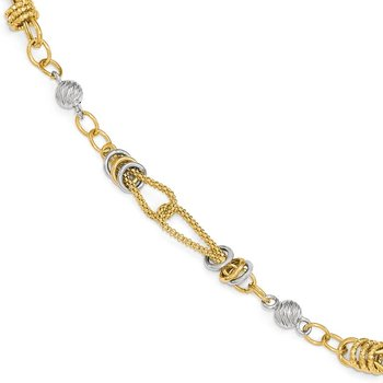 Leslie's 14k Two-tone Polished, Textured & D/C Fancy Link Bracelet