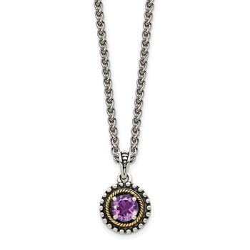 Sterling Silver w/ 14K Accent Amethyst Necklace