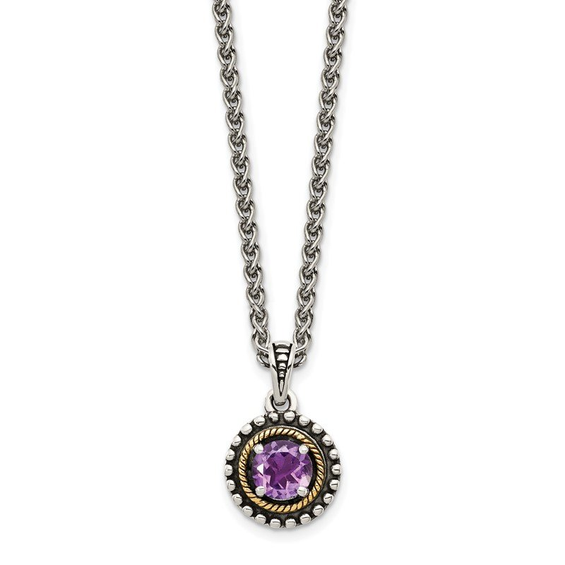 Quality Gold Sterling Silver w/ 14K Accent Amethyst Necklace