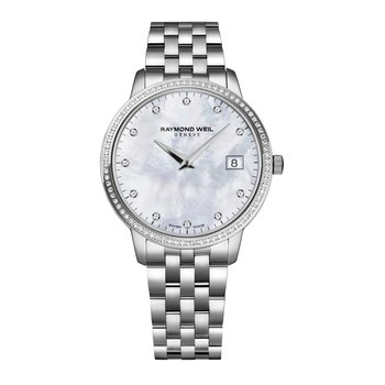 Ladies Quartz Date Watch, 34 mm stainless steel, 91 diamonds