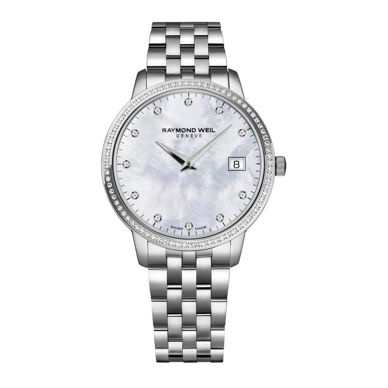Raymond Weil Ladies Quartz Date Watch, 34 mm stainless steel, 91 diamonds