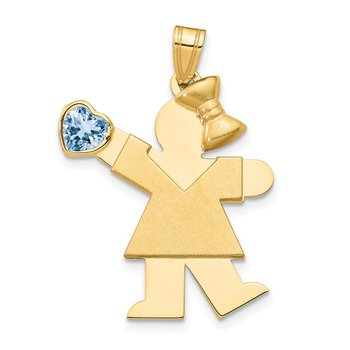 14k Girl with CZ March Birthstone Charm