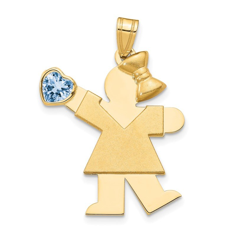 Quality Gold 14k Girl with CZ March Birthstone Charm