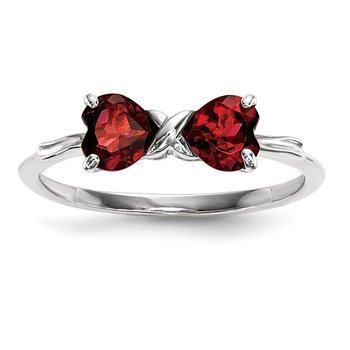 14k White Gold Polished Garnet Bow Ring