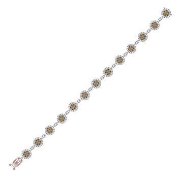 14kt Rose Gold Womens Round Brown Color Enhanced Diamond Cluster Bracelet 3-1/2 Cttw