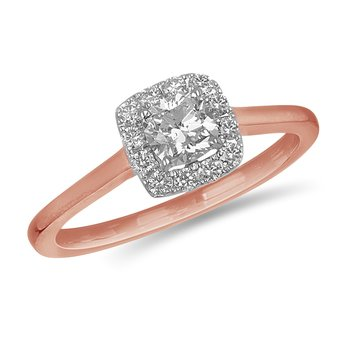 14K RG and diamond Cushion cut engagement ring with Square halo in prong setting Center 0.60 cts