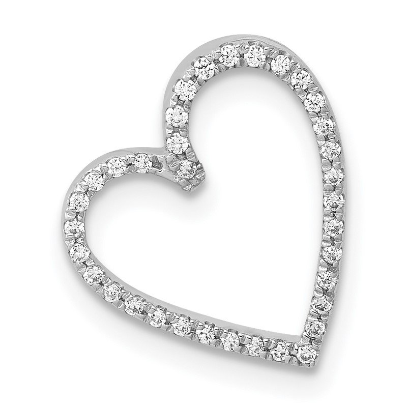 Quality Gold 14k White Gold 1/10ct. Diamond Vintage Heart Chain Slide