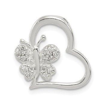 Sterling Silver CZ Heart with Butterfly Chain Slide