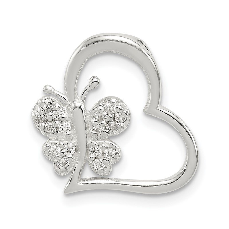 Quality Gold Sterling Silver CZ Heart with Butterfly Chain Slide