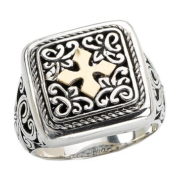 18K/ SILVER SQUARE W/ CROSS   DESIGN SIZE 8