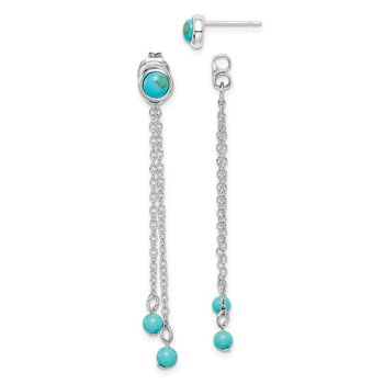Sterling Silver RH-plated Creat. Turquoise Chain Drop Front/Back Earrings