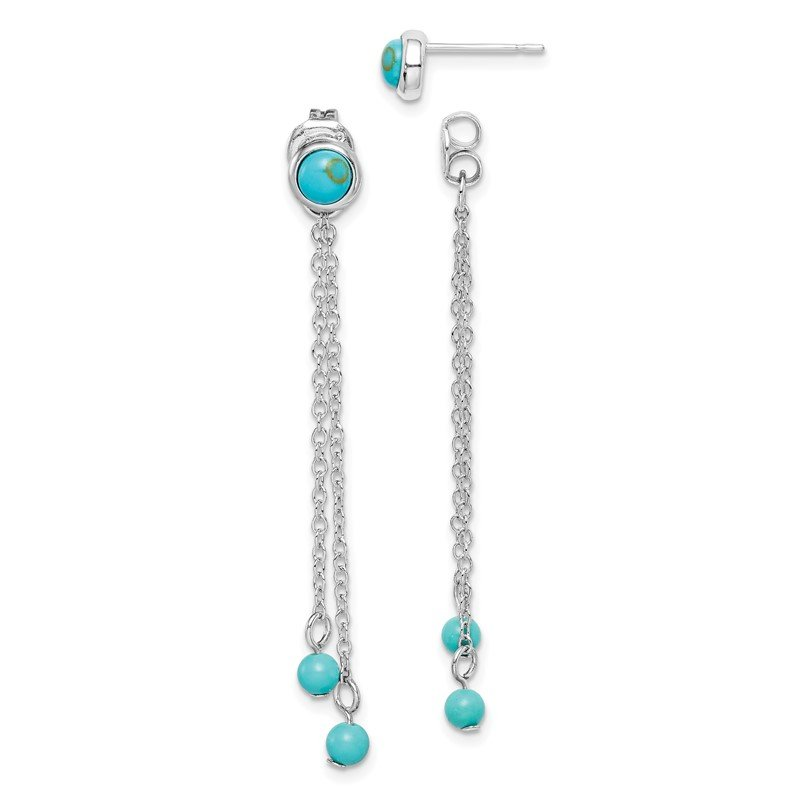 Quality Gold Sterling Silver RH-plated Creat. Turquoise Chain Drop Front/Back Earrings