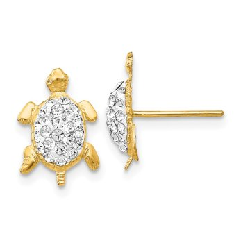 14k Crystal White Turtle Post Earrings